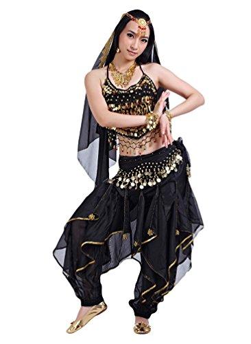 YiJee Damen Bauchtanz Kostüme Ein Sechs-Stück Set Schwarz (Kostüme Indische Schwarze)