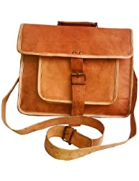 Leather Messenger Satchel Shoulder Laptop Bag Men Women 15 Inch Macbook & Laptop