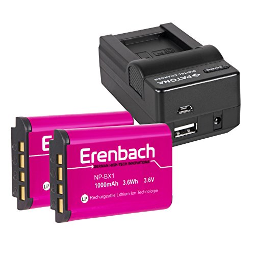 3in1-SET für den Sony HDR-PJ410 Full HD Camcorder --- 2 ERENBACH Markenakkus für Sony NP-BX1 (starke 1000mAh) + 4in1 Ladegerät (u.a. mit USB / micro-USB und Kfz/Auto)