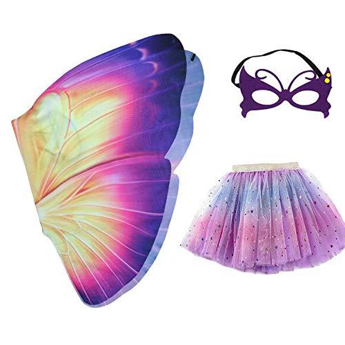 yeesn Mädchen-Kostüm mit Feen-Schmetterlingsflügeln und Tutu-Kleid, Maske, für Halloween, Party, Buttterfly, Umhang für Cosplay, Kostüm, für Kinder von 3-8 Jahren Gr. One Size, - Schule Themen Tanz Kostüm