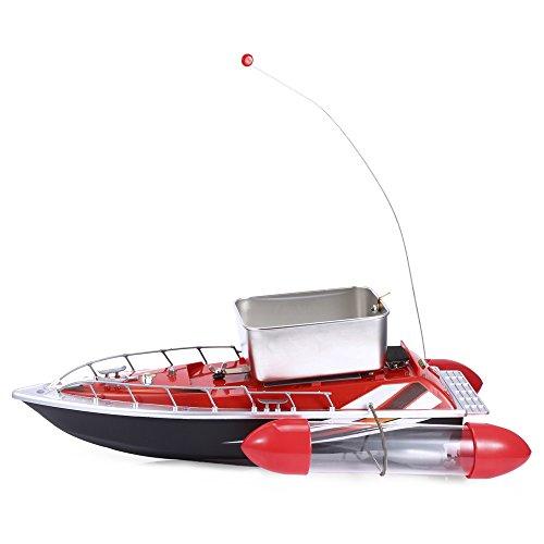 Mini Funkköderboot, 200m Reichweite, Radio-Fernbedienung, Köder Angelnetz Köder-Boot, Angelschiff mit Fernbedienung um Fische zu finden, rot -