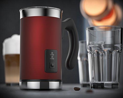 Arendo - Montalatte automatico Milk Frother acciaio inox | per latte caldo e freddo | 115ml | Spegnimento automatico | 20cm x 10cm | Colore Rosso - 7
