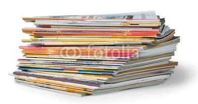"Alu-Dibond-Bild 100 x 50 cm: ""Article. Stack of magazines isolated on white background"", Bild auf Alu-Dibond"