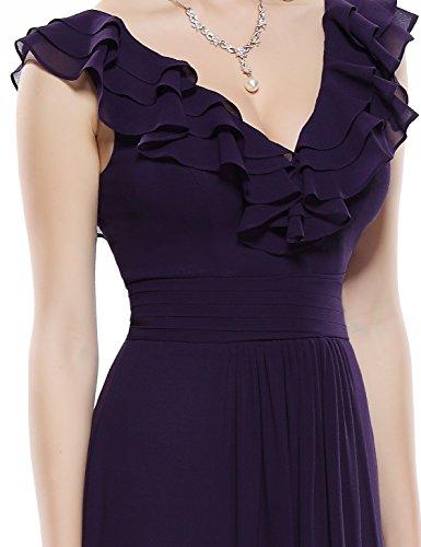 Ever Pretty Damen V-Ausschnitt Empire Taille Aermellos Sommer Abendkleid 08500 Dunkelviolett