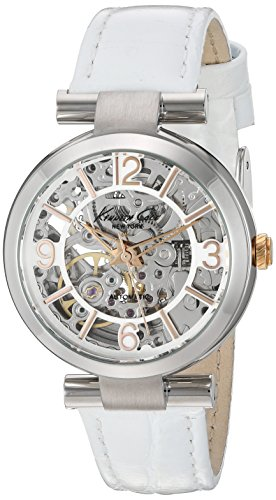 Kenneth Cole Womens Automatic White Leather Strap Silver Tone Dial KC10022296