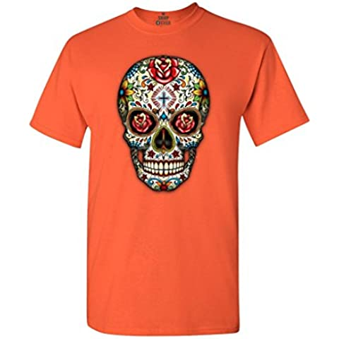 Hpyeed Sugar Skull Red Roses T-shirt Day of the Dead