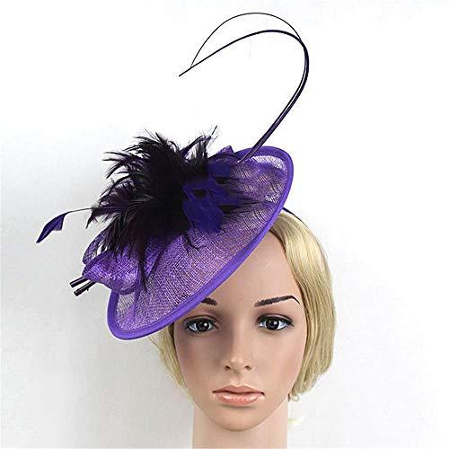 UZZHANG Brauthut-Haarschmuck Retro Stirnband Kopfschmuck Pferd Verein Reiter Hut Pferderennen Abschnitt Hanf Garn Haarzusätze (Farbe : Lila) (Pferderennen Motto Kostüm)