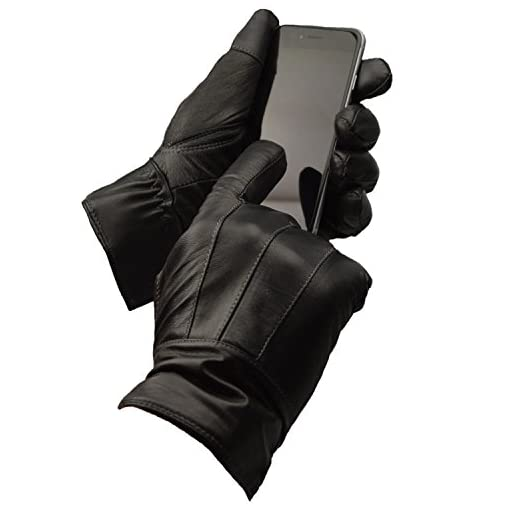 Mens Designer Genuine Leather Touch Screen Thermal Winter Warm Driving Gloves