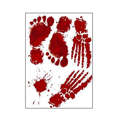 stische Blutverletzung Narbe Wunde Aufkleber Fake Tattoos Kostüm Make-up - rot (Fingerabdrücke 30x45CM) ()