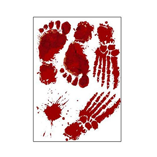 Sen-Sen Horror Realistische Blutverletzung Narbe Wunde Aufkleber Fake Tattoos Kostüm Make-up - rot (Fingerabdrücke 30x45CM)