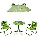 vidaXL Set Mobili da Esterno 4 pz Giardino Bambini Tavolo Sedie Ombrellone Verde