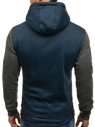 BOLF Felpa – Con cappuccio – Infilabile dalla testa – Con patch – Con stemma – Sportiva - Da uomo [1A1] Blu