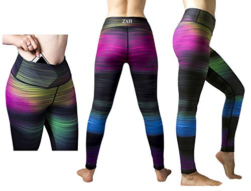 ZAH Sport Leggings Damen mit Tasche, Yoga, Fitness, Laufen, Joggen, Rad Fahren, Wandern (Medium)
