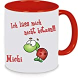 Tasse Trinkbecher Kaffeetasse Keramiktasse Teetasse Kaffeebecher Turtle Schildkröte Ich lass mich nicht hetzen! (rot)