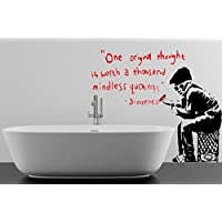 """Broomsticker Banksy Style One original thought is worth a thousand mindless quotings Wall Sticker (Small: 80cm x 70cm / 32"""" x 26"""")"""