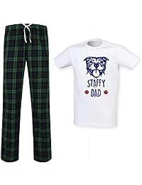 f090d2f9b8 60 Second Makeover Limited Herren Staffy Papa Schottenkaro Pyjama Set  Vatertag Haustier Kleidung Geschenk Staffordshire Bull…