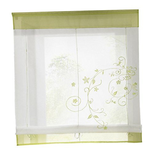 Homyl Blumen Tüll Voile Fenstervorhang Panel Vorhänge Gardinen, 4 Größen - # 2 Grün, 80x100cm - Vorhänge Zwei Panel-grüne
