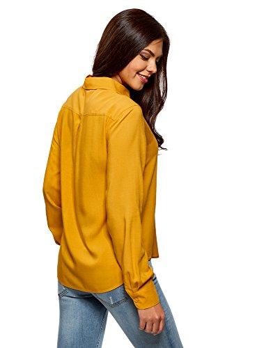 oodji Ultra Damen Viskose-Bluse Basic Gelb (5200N)