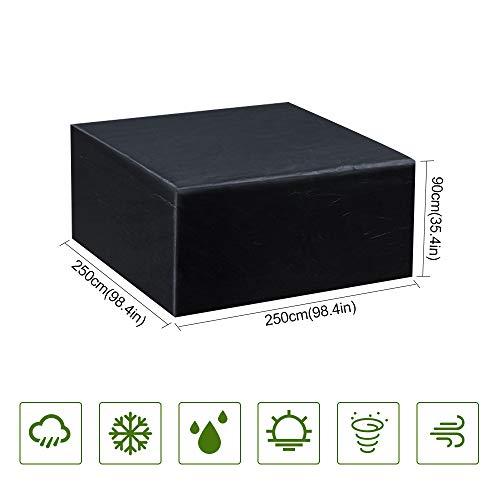Guansky copertura tavolo da giardino copertura mobilia impermeabile anti-uv 210d esterno oxford per tavolo, sedie, divani e altri mobili (250x 250x 90cm)