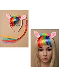 Angie's Fashion Ladies Girl's Assorted Pony ears Alice band with rainbow fur trim and imitation hair fringe, Matching tail