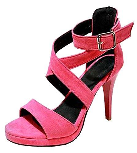 XiuHong Shop PU Nubukleder hochhackigen Damen Sandalen Große Yards Rosa
