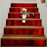 Adesivi per Scale 6 pz Babbo Natale 18 * 100 Cm 6 Pz Fai Da Te Creativo Adesivo Per Le Scale 3D Vinile Impermeabile Stair Sticker Home Decor Poster