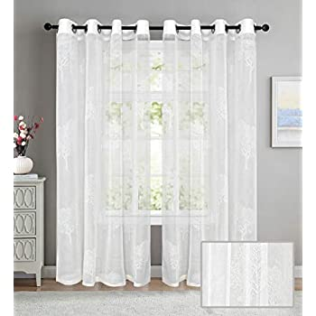LINENWALAS Polyester Elegant Rubber Tree Print Design Non Blackout Sheer 4.5 x5 ft Window Curtain with Eyelet Rings (White) - Set of 2