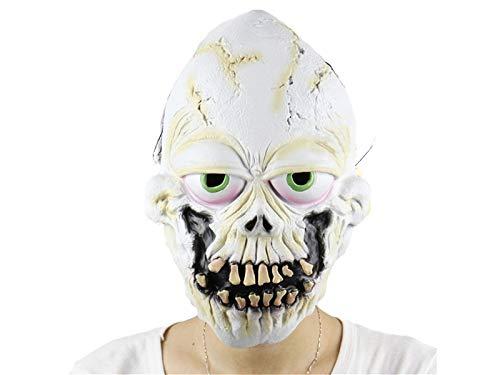 AHIMITSU Trick Horror Latex Zahn Decsk Skull Maske Scary Tricky Kopf Abdeckung für Halloween (weiß) für ()