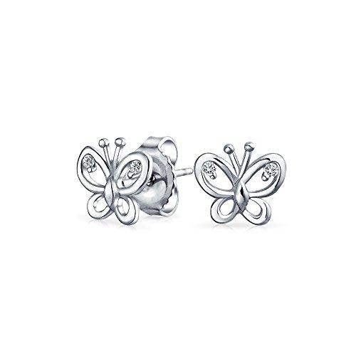 nen Garten Schmetterling Ohrstecker Für Damen Für Jugendlich 925 Sterling Silber ()