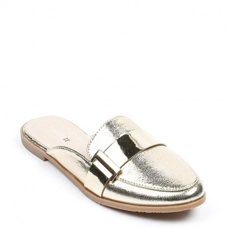 Ideal Shoes - Mules nacrées style babouche Gemma Doree