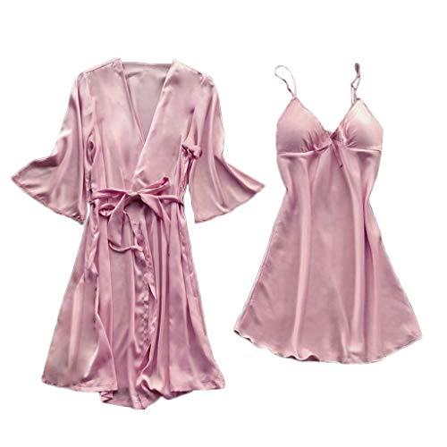 BCFUDA 2PC Frauen Pyjamas Robe Set Plus Size Satin Wrap Body Nachtwäsche mit Gürtel Sexy Sling V-Ausschnitt Kurzes Kleid Pyjamas Set (Satin-stretch-robe)