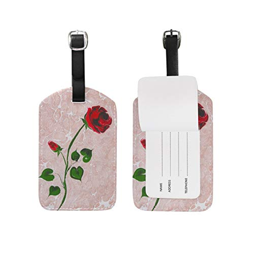 Luggage Tag Beautiful Pink Marble Flower Texture Travel Tag Name Card Holder for Baggage Suitcase Bag 1 Piece