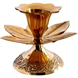 [Sponsored]Vishisht High Quality Home Decorative Brass Flower Plated Candle Holder (Weight : 24 GMS, L : 6 Cm, W : 6 Cm, H : 5 Cm)