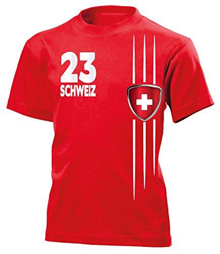 Schweiz Fan Streifen 3217 Fussball Kinder Kids Jungen Mädchen Unisex Fanshirt Shirt Tshirt Fanartikel Artikel T-Shirts Rot 116