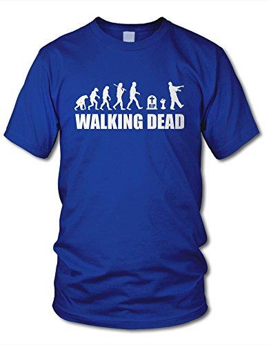 shirtloge - EVOLUTION WALKING DEAD - KULT - Fun T-Shirt - in verschiedenen Farben & Größe Royal (Weiß)