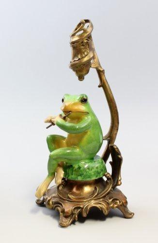 Kerzenhalter Frosch mit Flöte Leuchter -