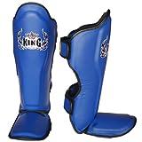 """Top King espinilleras de Muay Thai espinilleras de pantalla """"Pro"""" tksgp (GL) -BU L), color azul, mediano"""