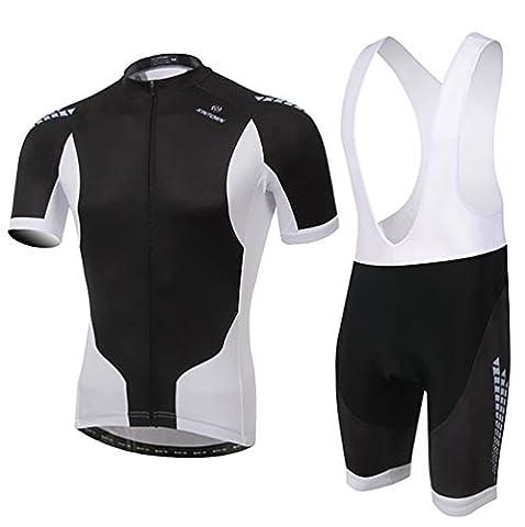 Baymate Homme Maillot de Cyclisme Ensemble Manches Courtes Cuissard Jerseys Pantalon Respirant Séchage Rapide Avec Rembourré Coussin
