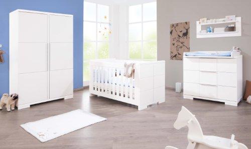 Preisvergleich Produktbild Pinolino Kinderzimmer Polar breit, 3-teilig, Kinderbett (140 x 70 cm), breite Wickelkommode mit Wickelaufsatz und Kleiderschrank, weiß Edelmatt (Art.-Nr. 10 34 21 B)