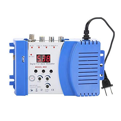 Breitband Audio/Video HF Modulator, Digitaler Display HF-Modulator AV-RF AV-TV Konverter VHF UHF,Ergonomisch HF Modulator mit LED für Satellitenempfänger/Videokamera/VCR/DVD usw. (EU-Stecker)(EU plug) Rf Modulator-audio