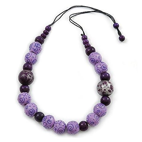 Lilas/violet Perle en bois Collier Cordon de Coton - 70 L (réglable)