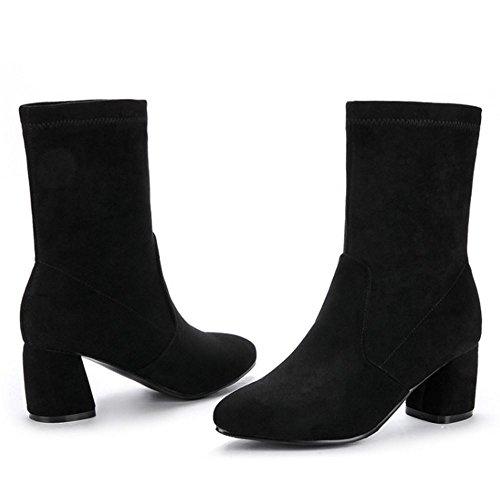 TAOFFEN Femmes Mode Bottes Mi-Mollet Talon Bloc A Enfiler Bottes Nubuck Black