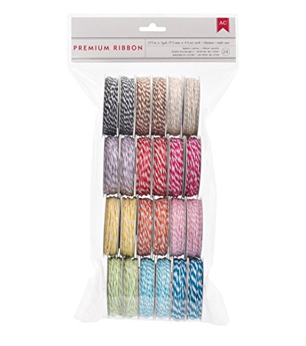 American Crafts We R Memory Keepers Ribbon Value Pack - 5-Yard Spools - 24 Spools - Baker's Twine - 2-Pack (Spool Ribbon Lace)