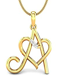Candere By Kalyan Jewellers A Love 14k Yellow Gold and Diamond Pendant