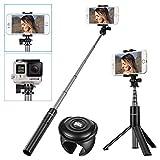SAWAKE Selfie Stick Stativ mit Fernbedienung, Bluetooth Selfie Stange für Gopro Kamera, iPhone X/ 8/7/ 7 Plus/ 6s/ 6/ 5s Android, Samsung, Huawei, HTC, Xiaomi, Galaxy, und die Meisten Smartphones, Verlängerbar von 10.6''-26.7''