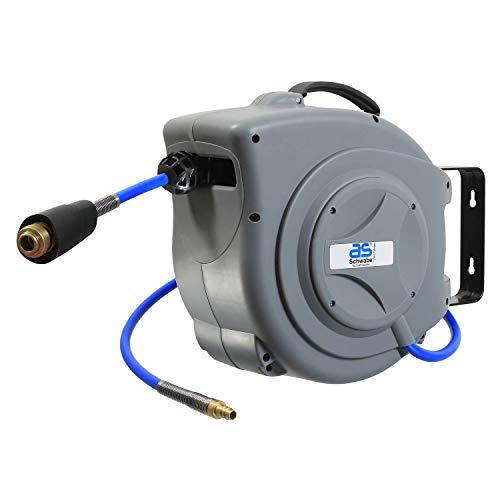 as - Schwabe 12613 Profi Druckluft-Schlauch-Aufroller - 15 m PU-Schlauch - Drucklufttrommel mit Schlauchstopp & Schnell-Verschlusskupplung - Robuster Aufroller - Grau