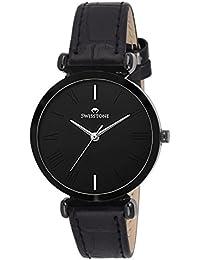 SWISSTONE Analogue Women's Watch (Black Dial Black Colored Strap)