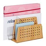 Relaxdays Dokumentenhalter Bambus, 2 perforierte Fächer, praktischer Briefständer,...