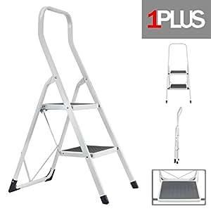 1plus stahl tritt leiter trittleiter klapptritt 2 stufen bis 150 kg belastbar mit extra hohem. Black Bedroom Furniture Sets. Home Design Ideas