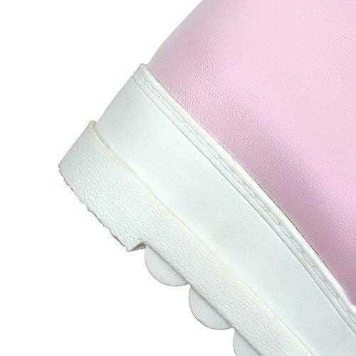 Baixo top Zipper Rosa De Mulheres Salto Botas Meados Allhqfashion B14zqwxE